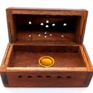 Caja Porta Incienso madera conos