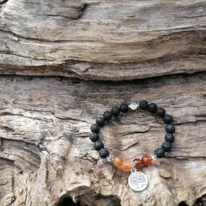 Brazalete Piedra Lava y Ágata Miel + Árbol de la Vida