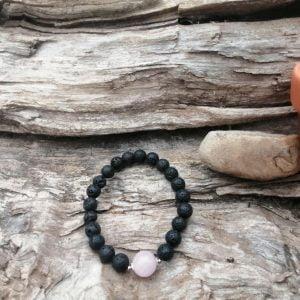 Pulsera Lava piedra preciosa natural rosa palo