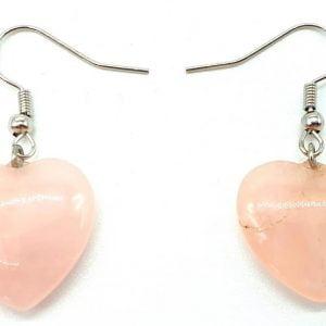 Pendientes Corazón Cuarzo Rosa