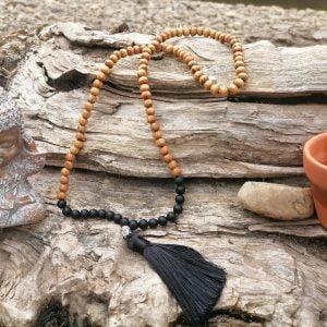 Japa Mala piedra natural y madera