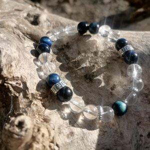 Pulsera Cristal de Roca + Ojo de Tigre Azul