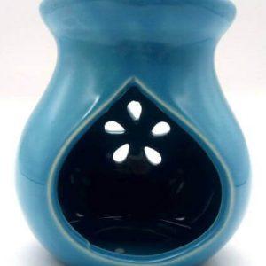 Quemador Aceite Cerámica Calado Azul 9cm