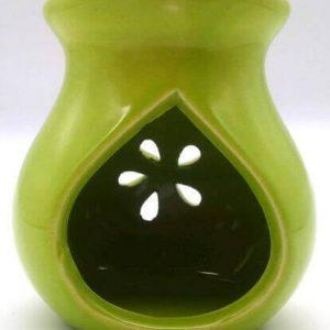 Quemador Aceite Cerámica Calado Verde 9cm