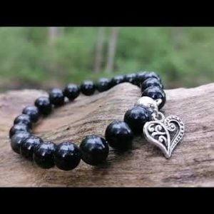 Pulsera Obsidiana Negra Corazón