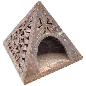 Portavela Piramide Piedra 12cm