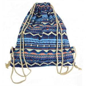 Bolso Mochila Cuerdas Azul